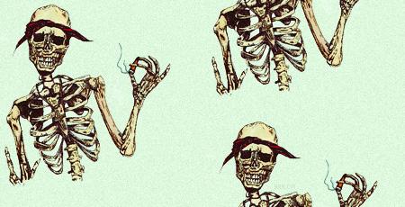 smoking gangsta skeleton